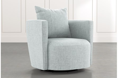 Twirl Light Blue Swivel Accent Chair