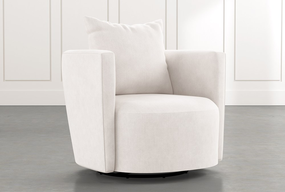 Twirl White Swivel Accent Chair