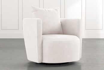 Twirl White Swivel Accent Chair