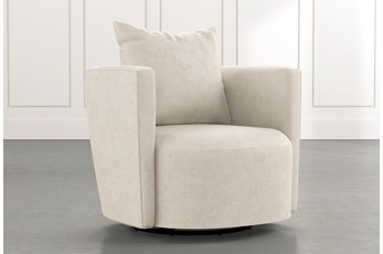 Twirl Beige Swivel Accent Chair