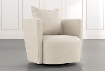 Twirl Beige Swivel Accent Chair