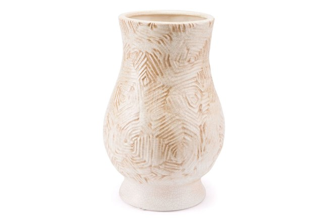 Large Textured Beige Vase - 360