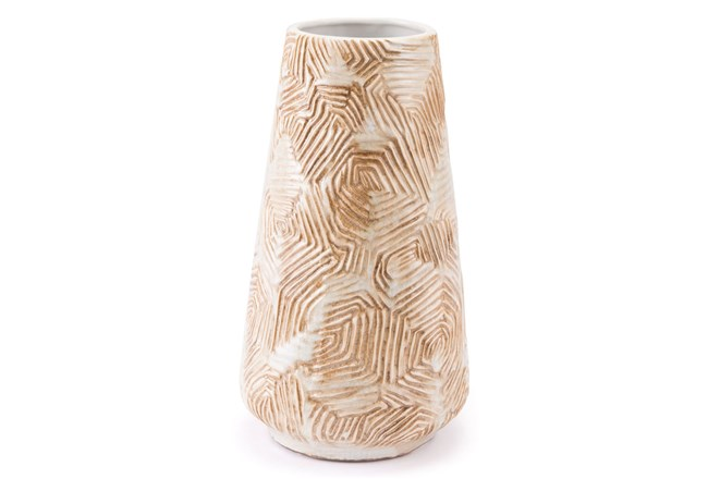 Medium Textured Beige Vase - 360