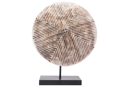 Round Large White & Brown Sculpture On Stand