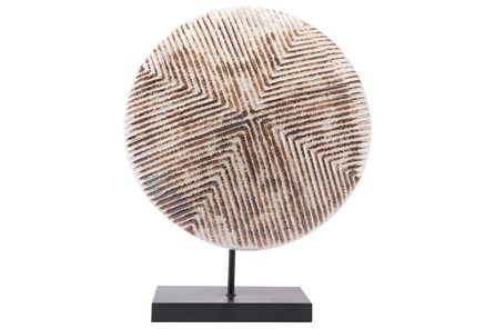 Round Large White & Brown Sculpture On Stand - Main