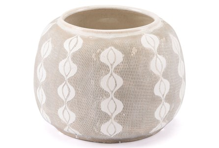 Medium White & Gray Dotted Planter