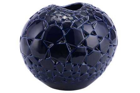 Dark Blue Round Large Vase - Main