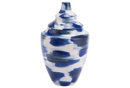 Medium Brushed Blue & White Jar