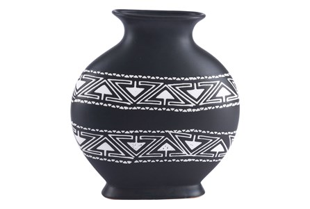 Medium Black & White Tribal Vase