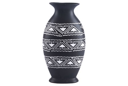 Large Black & White Tribal Vase
