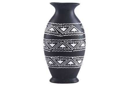 Large Black & White Tribal Vase - Main