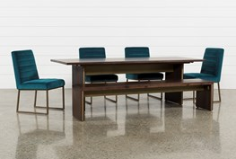 Wyatt 6 Piece Dining Set With Celler Teal Chairs