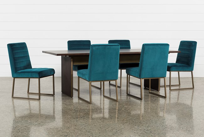 Wyatt 7 Piece Dining Set With Celler Teal Chairs - 360