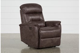 Halden Chocolate Power Recliner With Power Headrest And Usb