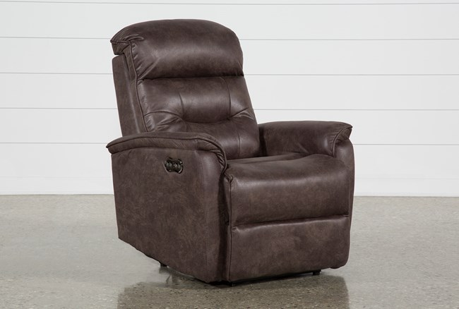 Halden Chocolate Power Recliner With Power Headrest And Usb - 360