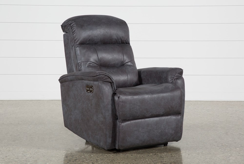 Halden Dark Grey Power Recliner With Power Headrest And Usb