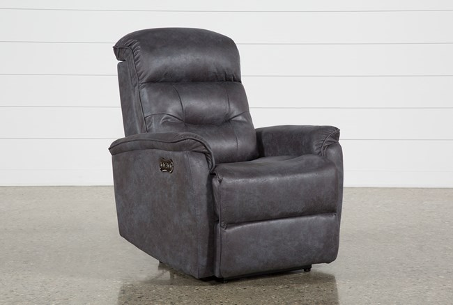 Halden Dark Grey Power Recliner With Power Headrest And Usb - 360
