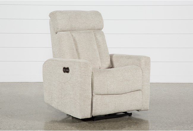 Halo Beige Power Recliner With Power Headrest And Usb - 360