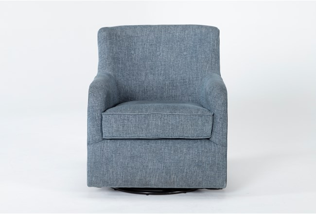 Katrina Blue Swivel Glider Chair - 360