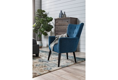 Enjoyable Kelsey Denim Blue Accent Chair Gmtry Best Dining Table And Chair Ideas Images Gmtryco