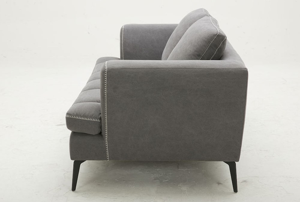 "Grey 78"" Loveseat With Exposed White Stitch"
