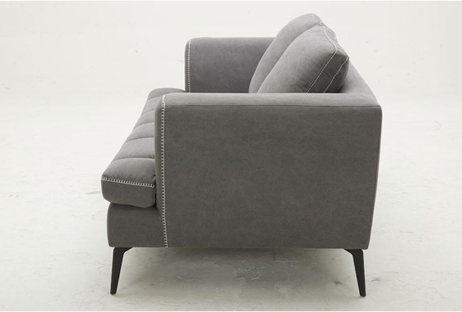 "Grey 78"" Loveseat With Exposed White Stitch - 360"