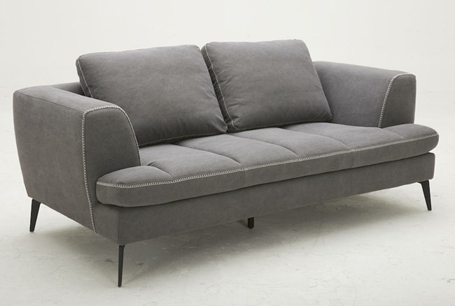 Grey Loveseat With Exposed White Stitch - 360