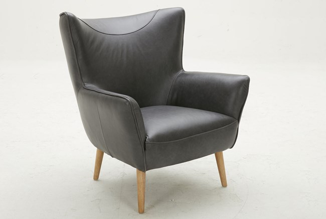 Black Leather Wing Chair - 360