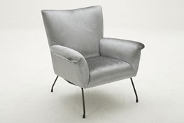 Grey Luxe Wing Chair