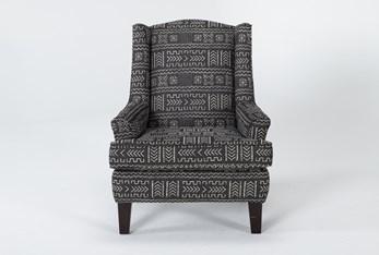 Bailey Onyx Flare Arm Wing Club Chair With Espresso Finish