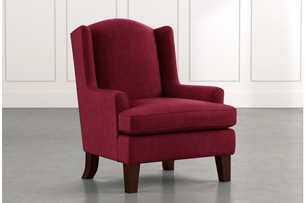 Bailey Burgundy Flare Arm Wing Club Chair W/Espresso Finish
