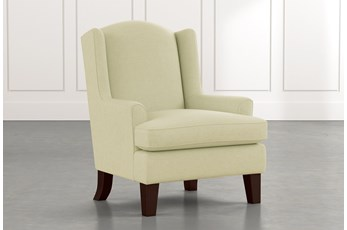 Bailey Green Flare Arm Wing Club Chair W/Espresso Finish