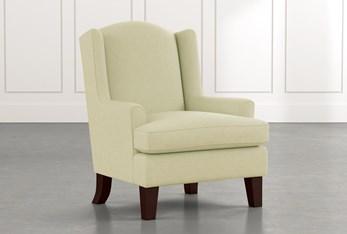 Bailey Green Flare Arm Wing Club Chair W/Espresso Finish