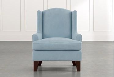 Bailey Light Blue Flare Arm Wing Club Chair W/Espresso Finish