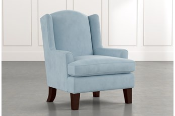 Bailey Light Blue Flare Arm Wing Club Chair W/Espresso Finish