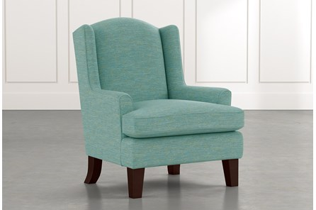 Bailey Teal Flare Arm Wing Club Chair W/Espresso Finish