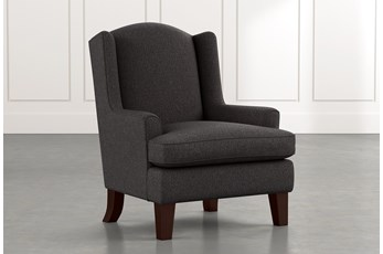 Bailey Black Flare Arm Wing Club Chair W/Espresso Finish