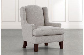Bailey Grey Flare Arm Wing Club Chair W/Espresso Finish