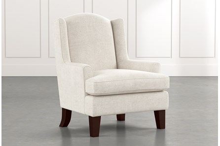 Bailey White Flare Arm Wing Club Chair W/Espresso Finish
