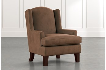 Bailey Dark Brown Flare Arm Wing Club Chair W/Espresso Finish