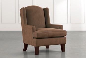 Bailey Dark Brown Flare Arm Wing Club Chair W/Espresso Finish