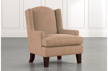 Bailey Light Brown Flare Arm Wing Club Chair W/Espresso Finish
