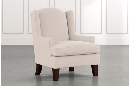 Bailey Beige Flare Arm Wing Club Chair W/Espresso Finish