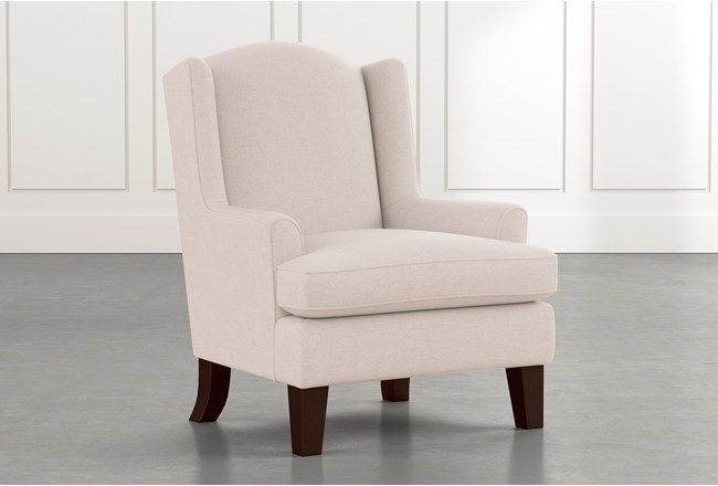 Bailey Beige Flare Arm Wing Club Chair W/Espresso Finish - 360