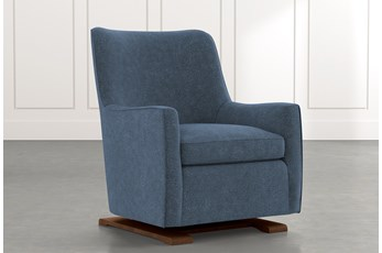 Bailey Dark Blue Angled Track Arm Swivel Glider