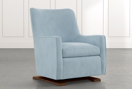 Bailey Light Blue Angled Track Arm Swivel Glider