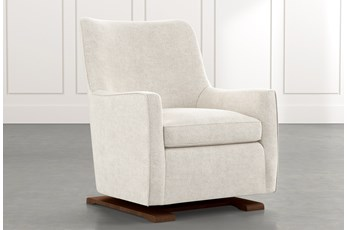 Bailey Beige Angled Track Arm Swivel Glider