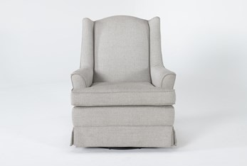 Bailey Linen Flare Arm Wing Skirted Swivel Glider