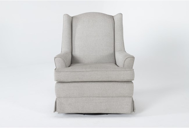 Bailey Linen Flare Arm Wing Skirted Swivel Glider - 360