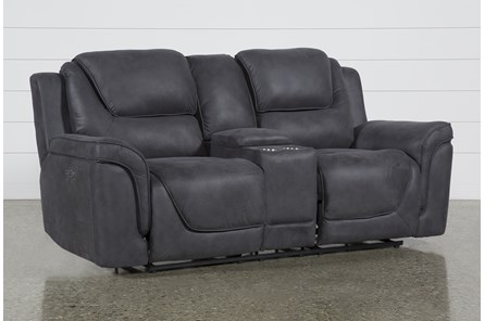 Denver Dark Grey Power Reclining Console Loveseat With Power Headrest, Ac & Usb